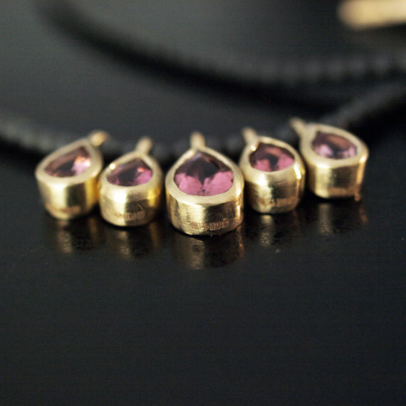 9ct gold pink tourmaline drop necklace