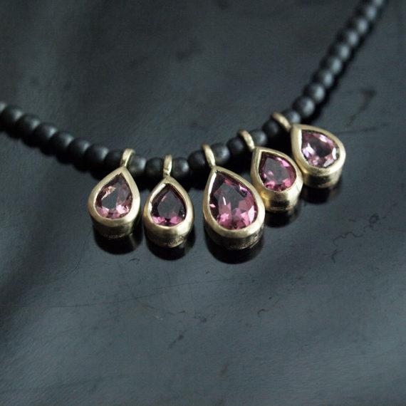 pink tourmaline 5 drop necklace