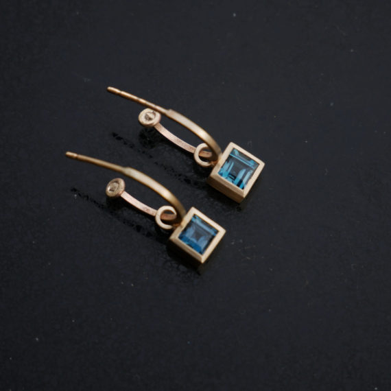 9ct gold hoops with London blue Topaz