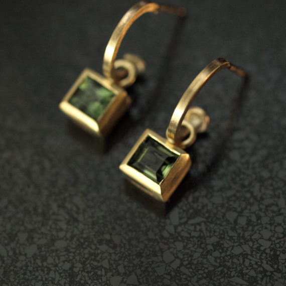 Tiny 9ct gold hoop with square tourmalines drops