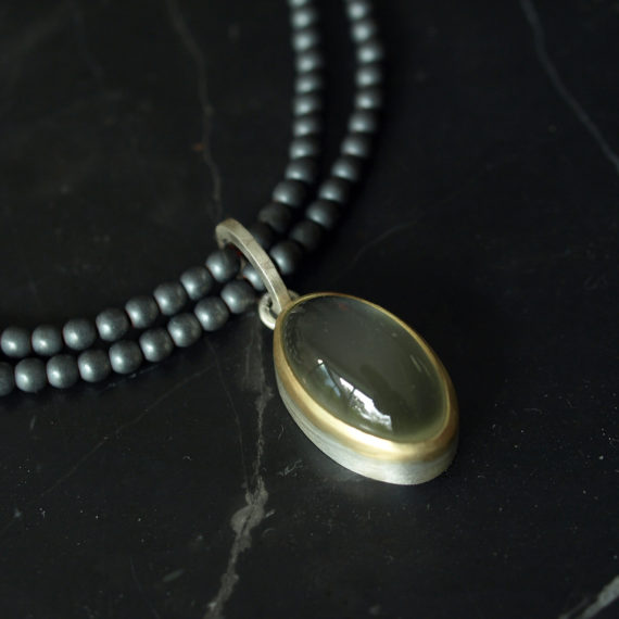 green moonstone and haematite necklace