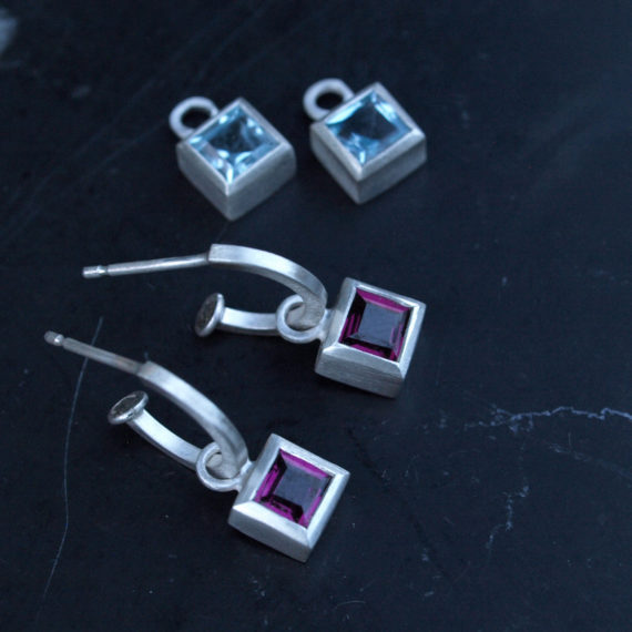 tiny silver hoop earring with square topaz