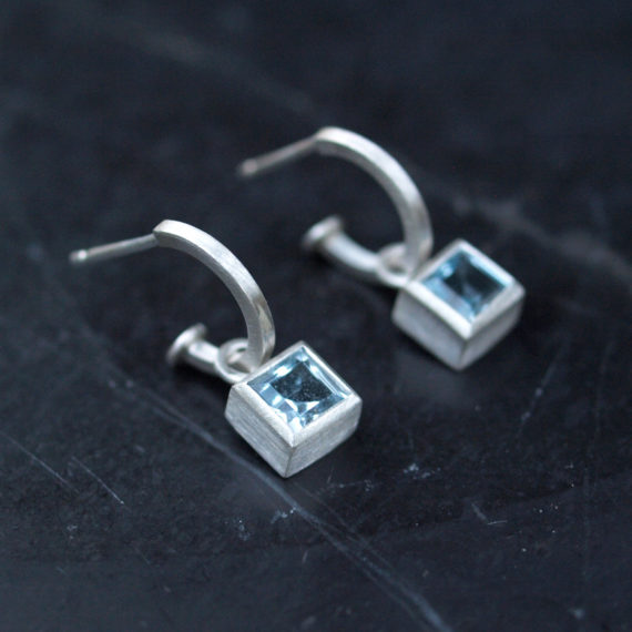 tiny silver hoop with square topaz