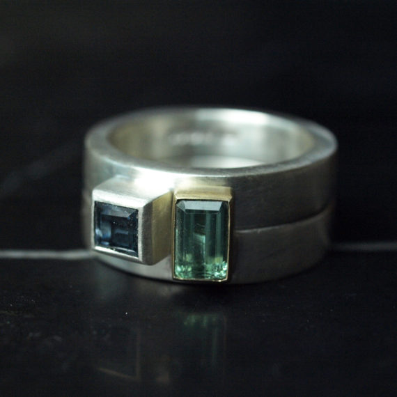 silver stacking rings with topaz and tourmaline