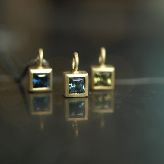tiny square gold and sapphire necklace