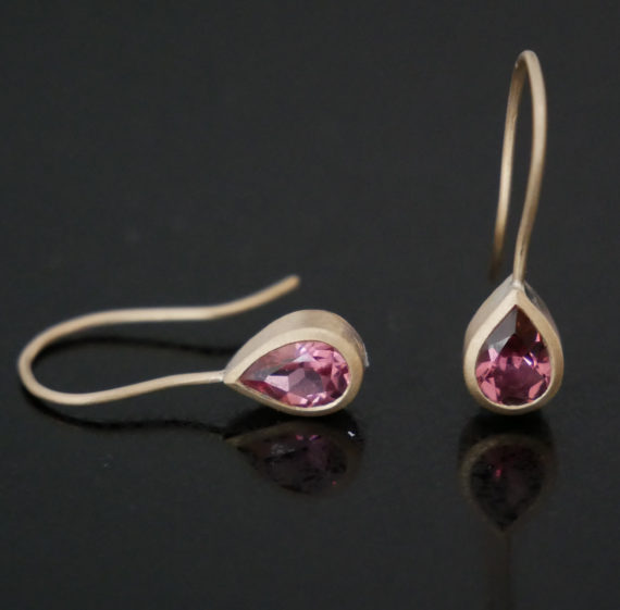 9ct gold drop earrings with pink tourmalines