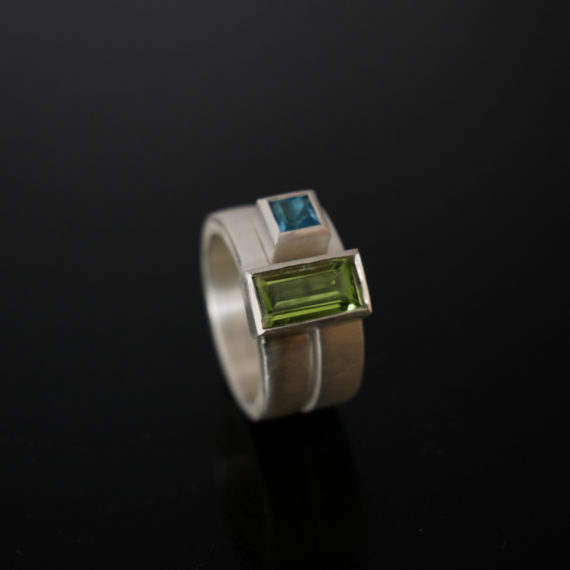 Peridot topaz chunky stacking rings