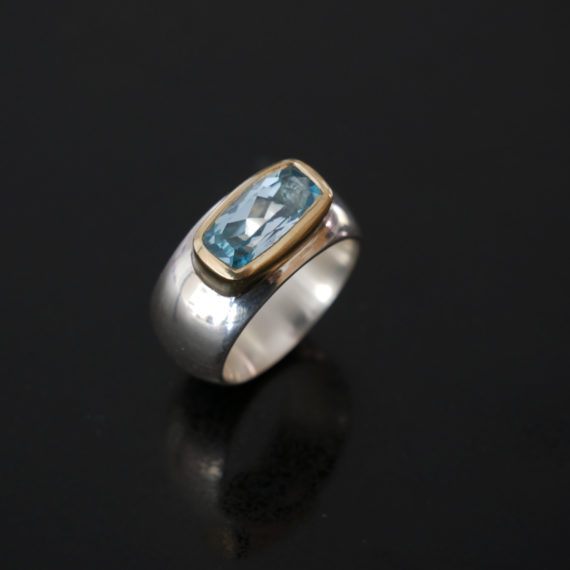 Chunky silver and gold topaz ring