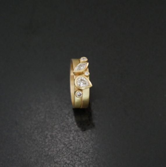 14ct gold diamond stacking ring