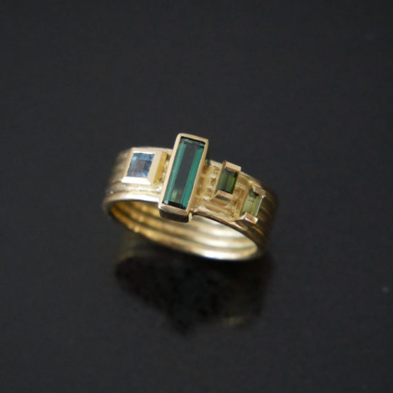18ct gold ring with baguette tourmalines