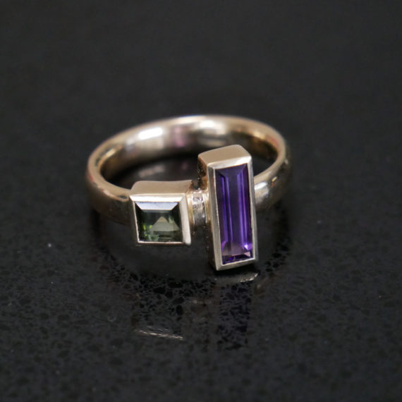 9ct gold tourmaline and amethyst ring